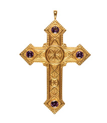 Pectoral Cross with Amethysts 4-3/8""