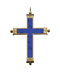 Pectoral Cross with Lapislázuli Inlay 4""