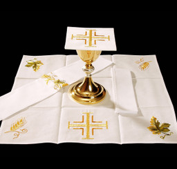 Complete Mass Linen Set with Gold Cross Embroidery