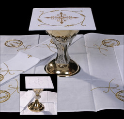 Complete Mass Linen Set with Cross and Wheat Embroidery