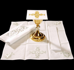 Complete Mass Linen Set with Gold and White Embroidery