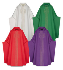 Monastic Chasuble in Lucia fabric with Gold Cord Design
