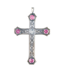 """Pectoral Cross with Amethysts 3.5"""""""
