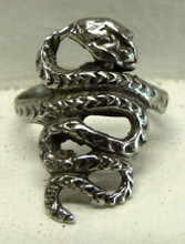 Snake Coil Ring Cast In Pewter