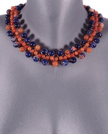 Blue Sodalite and Red Aventurine Gemstone Galaxy Collar Necklace