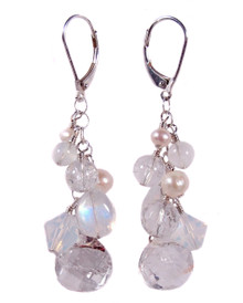 Rock Crystal Quartz Drops, Freshwater Pearls & Moonstone Cluster Earrings