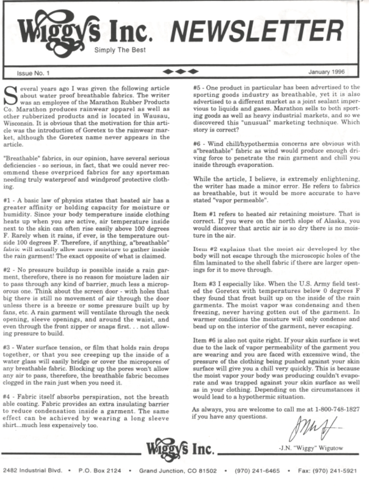 Wiggy's First Newsletter