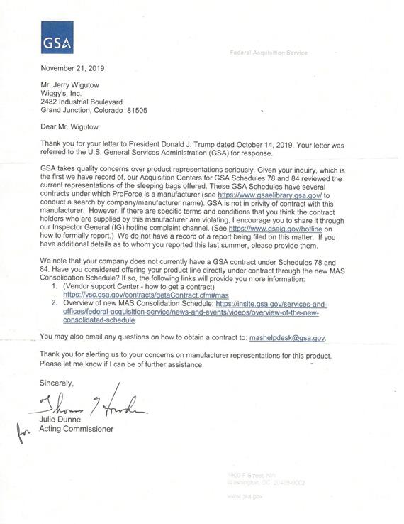 Wiggy's GSA Follow-up Letter