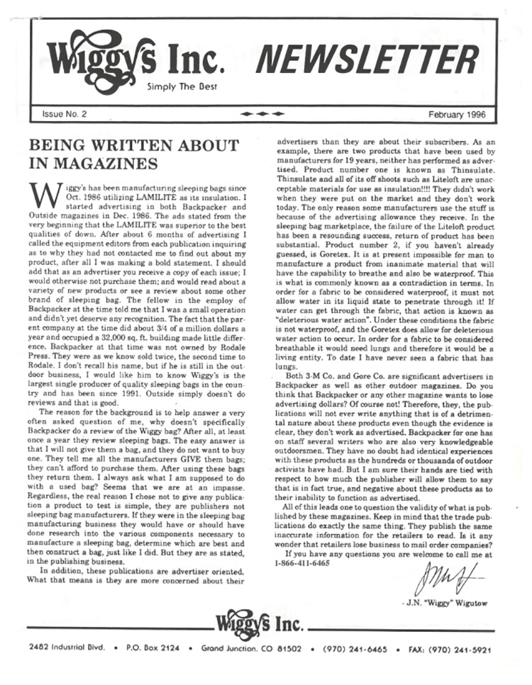 Wiggy's 2nd Newsletter