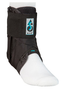 ASO WITH PLASTIC STAYS  The ASO with plastic stays has the same great features as the original ASO along with the addition of medial and lateral plastic stays to provide enhanced proprioceptive support.  The plastic stays are secured in a fully padded pocket and are easily removable. The ASO  with plastic stays is bilateral and fits either the left or right foot.  Indications include: inversion or eversion ankle sprains and medial or lateral ankle.