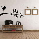 Bird Tree Branch Leaves Vinyl Wall Decal