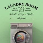Laundry Room Help Needed Wash Dry Fold Repeat Vinyl Wall Decal Vinyl Wall Art