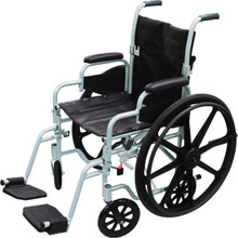 Drive Poly Fly Light Weight Transport Chair + Wheelchair Combo w/ Swing-away Footrests