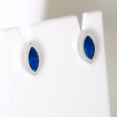 Lost Sea Opals- silver opal inlaid earrings