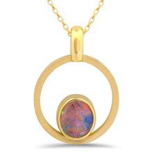 Lost Sea Jewels - Crystal Opal in 18k yellow gold pendant