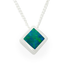 18k white gold opal inlaid pendant -Lost Sea Jewels