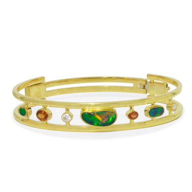 Lost Sea Opals Bangle- Black opal, Australian Orange Sapphire and Diamonds