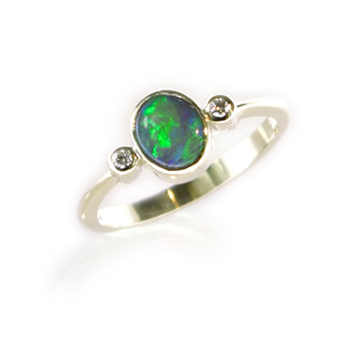 Lost Sea Opals 9ct White Gold and Dark Opal Ring