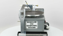 THE MACHINE COMES WITH A VARIABLE SPEED CONTROLLER PROVIDING NEEDED POWER AT LOW RPMS AS WELL AS HIGH RPMS FOR POLISHING.  IT ALSO HAS FORWARD AND REVERSE CONTROL FOR SHARPENING BOTH LEFT AND RIGHT HANDED SCISSORS.