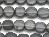 Gray (Smoky) Round Tabular Recycled Glass Beads 18mm - Indonesia (RG406)