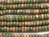 Unakite Rondelle Gemstone Beads 8mm (GS911)