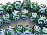 Green w/Baby Blue Swirls Lampwork Glass Beads 14mm - Large Hole (LW1152)