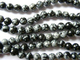 Snowflake Obsidian Round Gemstone Beads 6mm (GS1093)
