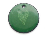 Enameled Copper Disc - Forest Green w/Heart 18mm (EC20)
