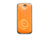 Enameled Copper Rectangle - Orange w/Spiral 25mm (EC15)