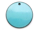 Enameled Copper Disc - Retro Aqua Blue 25mm (EC105)