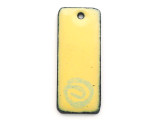 Enameled Copper Rectangle - Yellow w/Spiral 25mm (EC23)