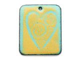 Enameled Copper Rectangle - Turquoise & Lime w/Heart 32mm (EC21)