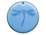 Enameled Copper Disc - Violet w/Dragonfly 38mm (EC29)