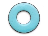 Enameled Copper Ring - Retro Aqua Blue 25mm (EC109)