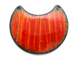 Enameled Copper Crescent - Orange w/Stripes 38mm (EC27)