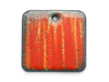 Enameled Copper Square - Orange w/Stripes 18mm (EC19)