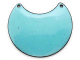 Enameled Copper Crescent - Retro Aqua Blue 38mm (EC112)