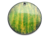 Enameled Copper Disc - Green/Yellow Stripes 25mm (EC25)