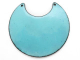Enameled Copper Crescent - Retro Aqua Blue 50mm (EC113)