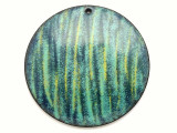 Enameled Copper Disc - Turquoise w/Stripes 38mm (EC24)