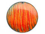 Enameled Copper Disc - Orange w/Stripes 50mm (EC30)