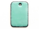 Enameled Copper Rectangle - Turquoise 18mm (EC602)
