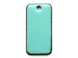 Enameled Copper Rectangle - Turquoise 25mm (EC608)