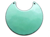 Enameled Copper Crescent - Turquoise 50mm (EC613)