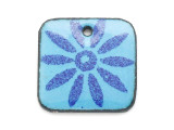 Enameled Copper Square - Blue w/Daisy 18mm (EC10)
