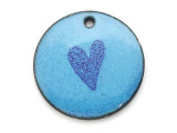Enameled Copper Disc - Blue w/Heart 18mm (EC18)