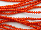 Orange White Heart Trade Beads 4mm (AT3763)