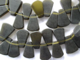 Dark Olive Green Trapezoid Resin Beads 24mm (RES286)