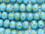 Turquoise w/Yellow Polka Dot Lampwork Glass Beads 14mm (LW1163)