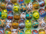 Multi-Color & Swirls Lampwork Glass Beads 13mm (LW1180)